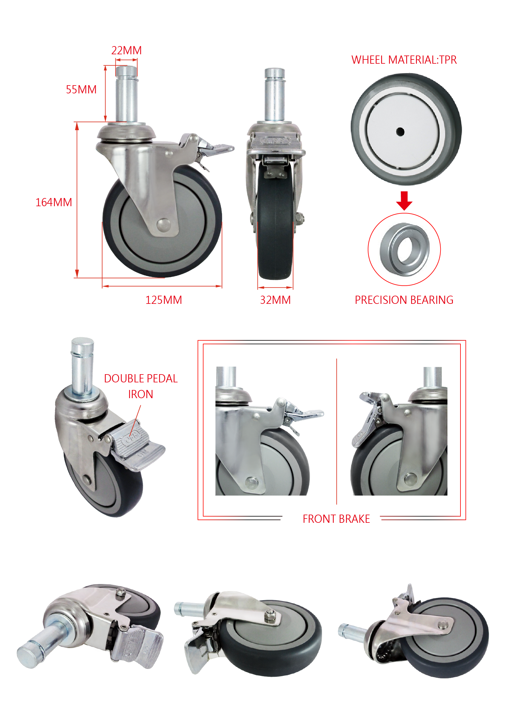 CCE 5 Swivel Locking Solid Rubber Medical Caster Wheels Specification.png