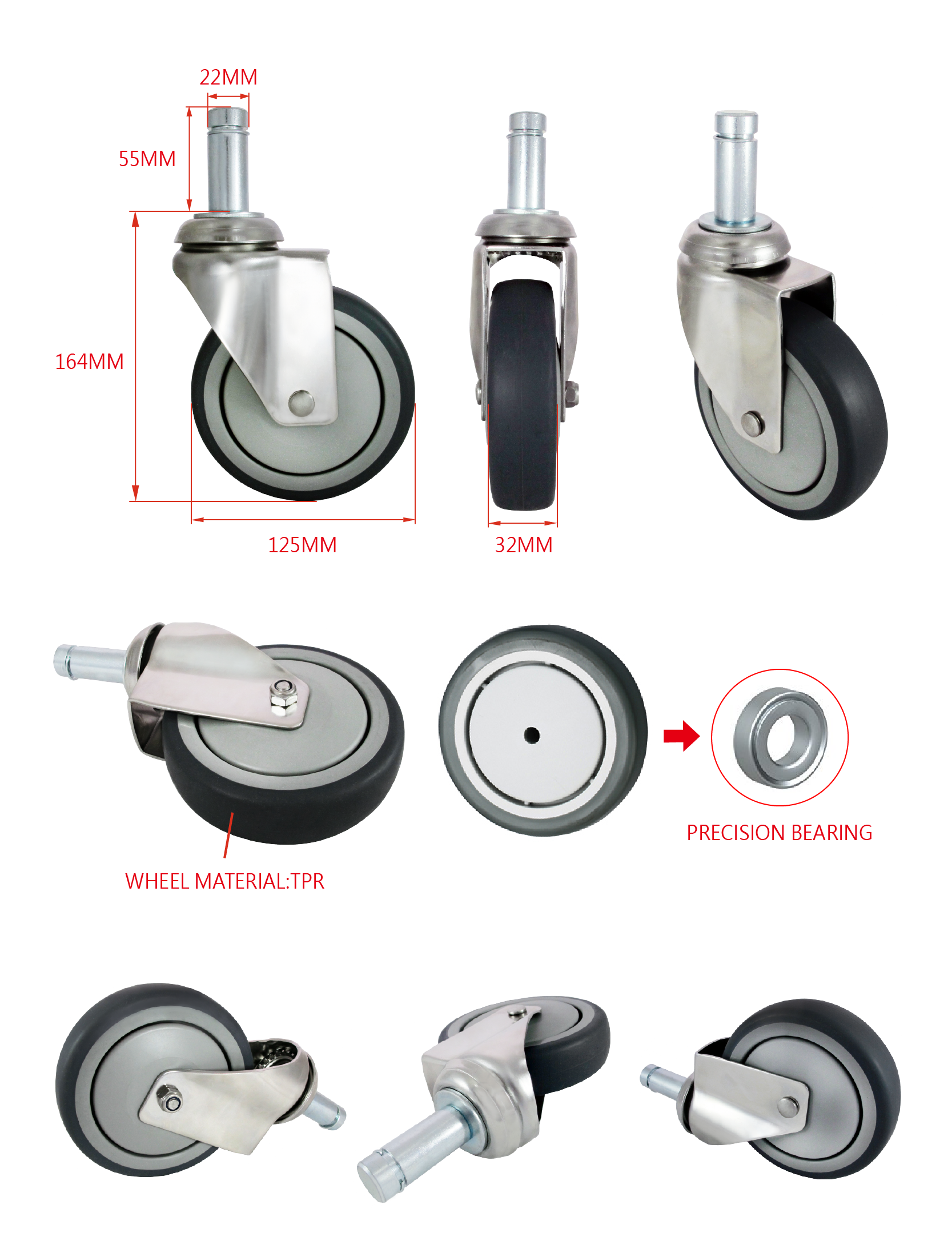 CCE 5 Inch Hard Rubber Swivel Caster Stem Wheels Medical Specification.png