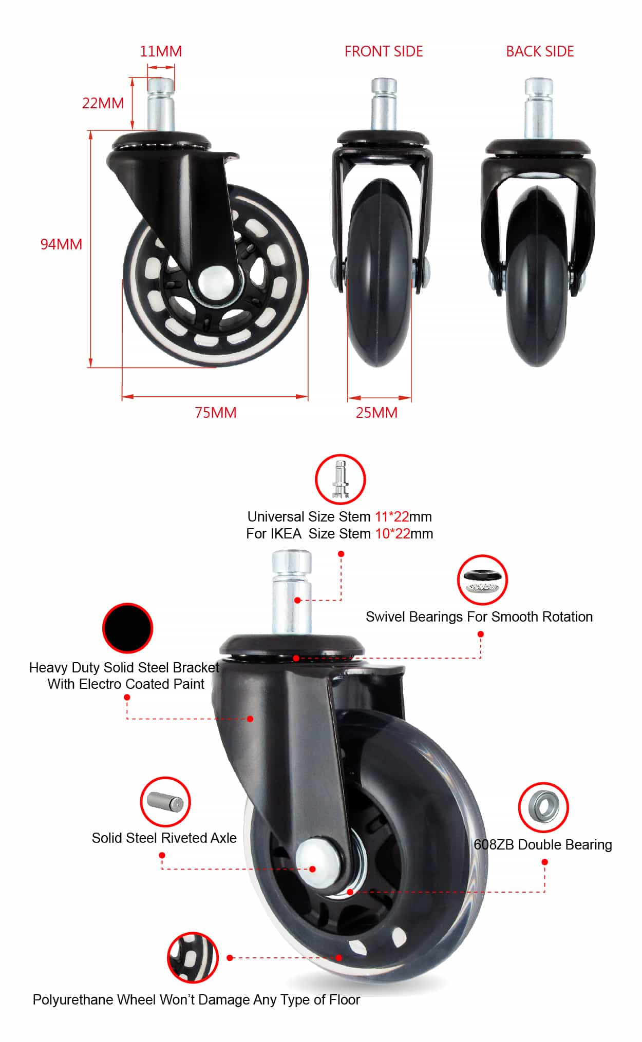 CCE 3 Inch PU Office Gaming Chair Furniture Wheel Specification.jpg