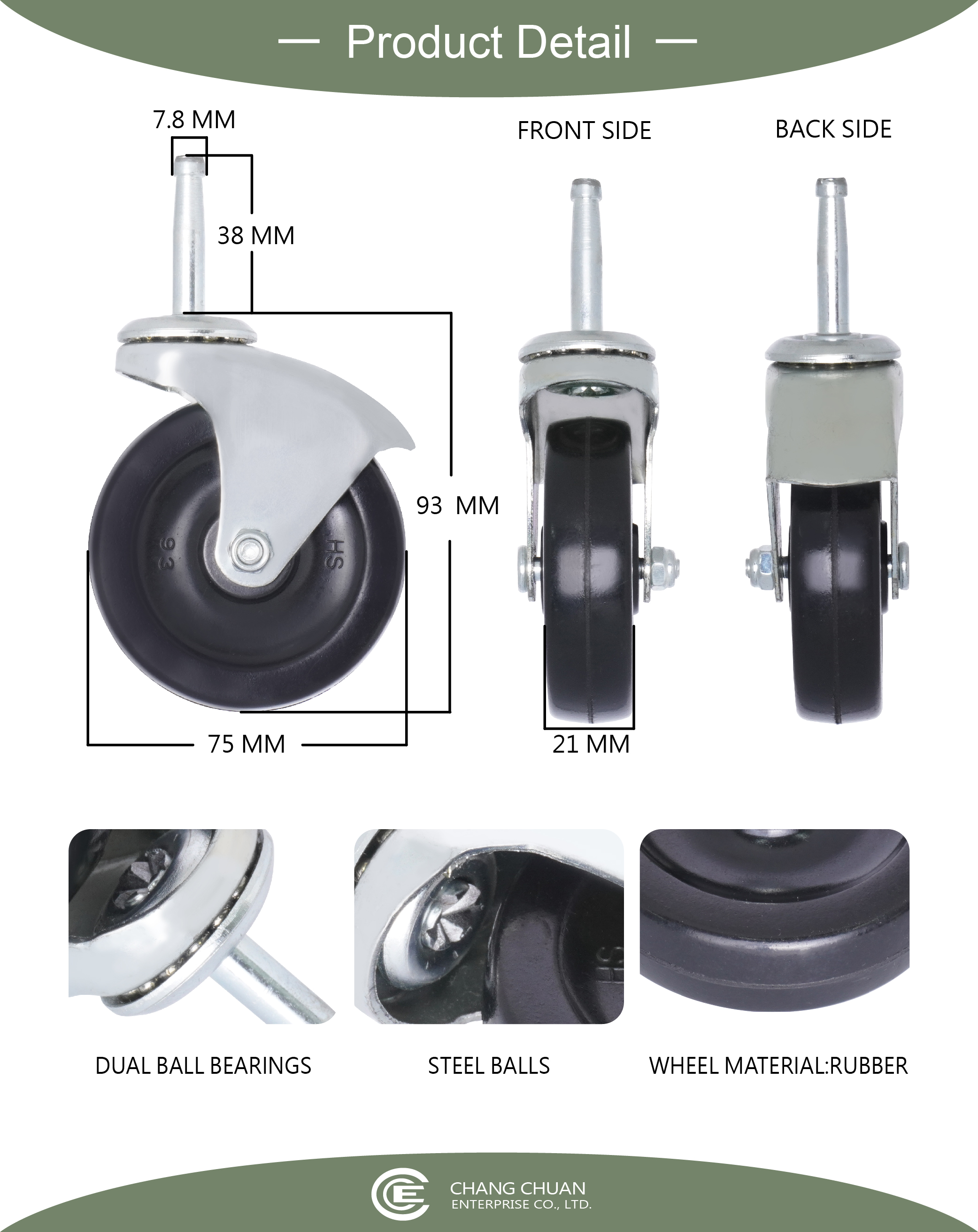 75mm Grip Neck Stem Rubber Furniture Wheels Replacement Specification.jpg